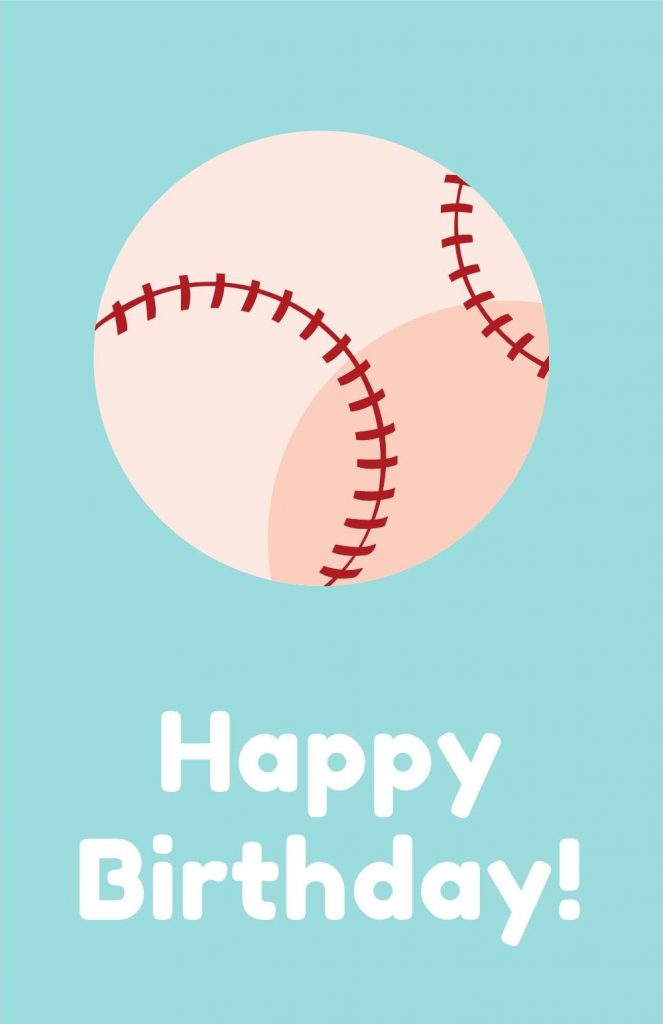 printable birthday card - baseball
