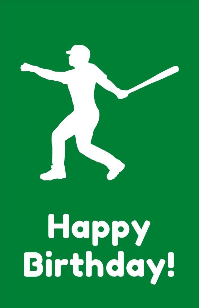 printable birthday card - baseball player silhouette